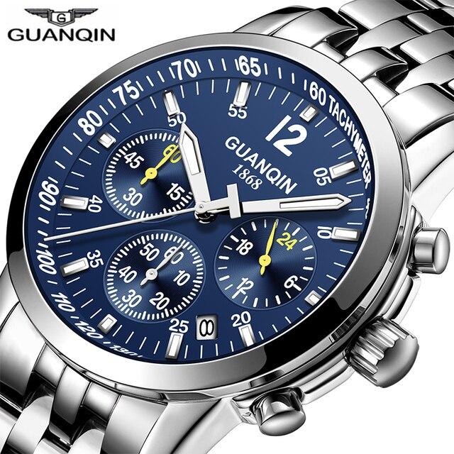 Erkek kol saatiGUANQIN 2019 men watch business Quartz watch Waterproof clock men watch top brand luxury Chronograph Wrist Watch