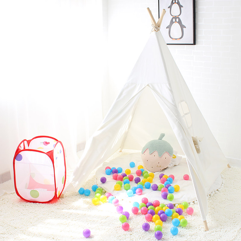 Kids Play Tent Cotton Canvas Indian Teepee Children Play House Baby Room Decoration Tipi Toys For Children Birthday Gift children tent five wooden poles indian play teepees kids tipi cotton canvas teepee white play house for baby room