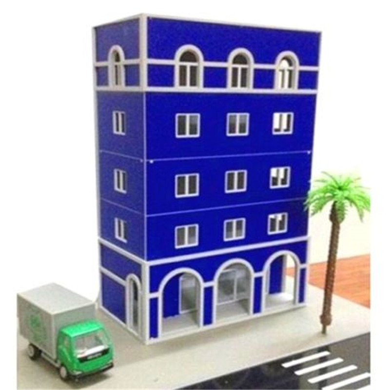 EatingBiting(R) Outland Models Building 1/87 HO Scale Modern 5-Story Grand Blue Building DIY ...