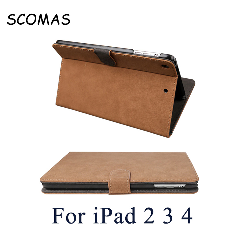 SCOMAS Retro Flip Leather Tablet PC Hibernate Case for Apple iPad2 3 4 Anti Dust Waterproof