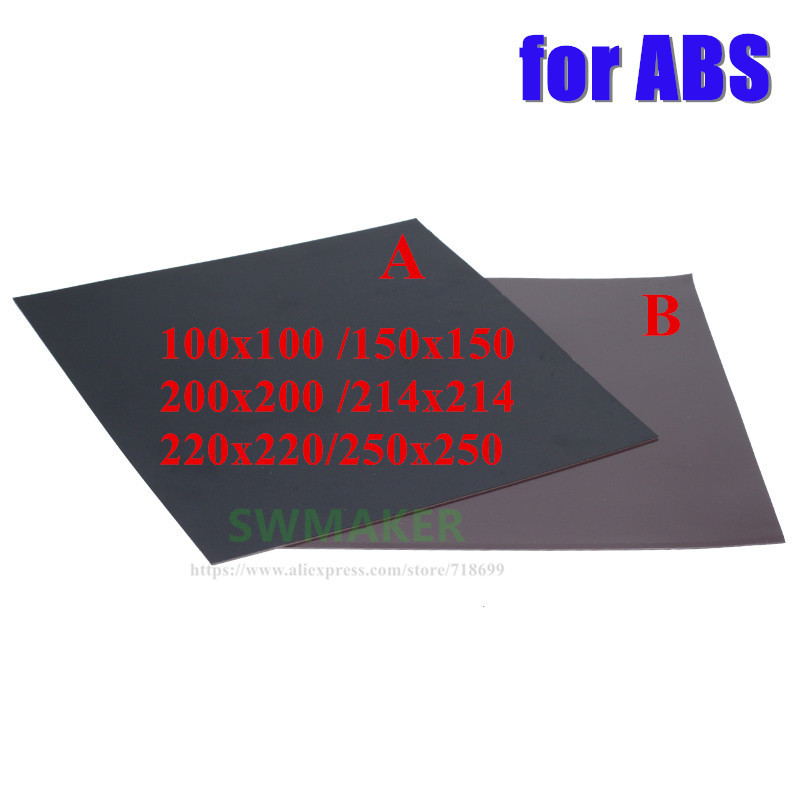 New For ABS Magnetic Print Bed Tape square 100/150/200/214/220/250mm Print Sticker Build Plate Tape Flex Plate 3D Printer parts 220x220mm flex magnetic print bed tape sticker build plate tape for prusa i3 wanhao i3 anet a8 a6 3d printer