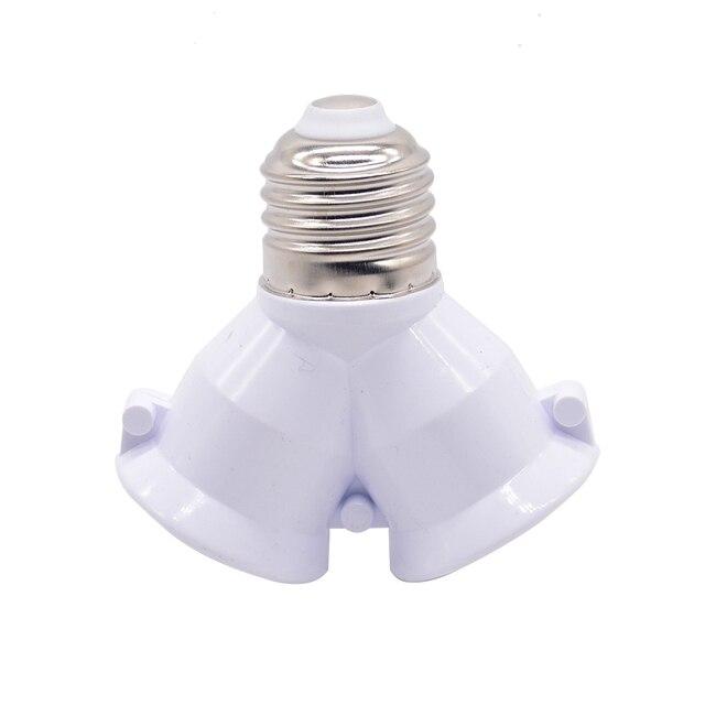 1Pcs White Color Fireproof Material Converter Socket Conversion Light Bulb Base E27 To 2 E27 Lamp Holder Converter 1