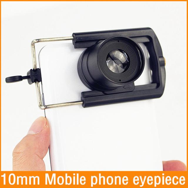 Envío libre 1.25 ''(31.7mm) lente ocular Ocular Del telescopio Astronómico 10mm teléfono Móvil fotografía con Teléfono clip