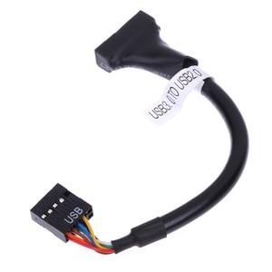 Image 5 - Per CD ROM floppy drive pannello adattatore USB 3.0 20 Spille maschio a USB2.0 9 Spille femminile flessibile cavo del computer adattatore di scheda madre