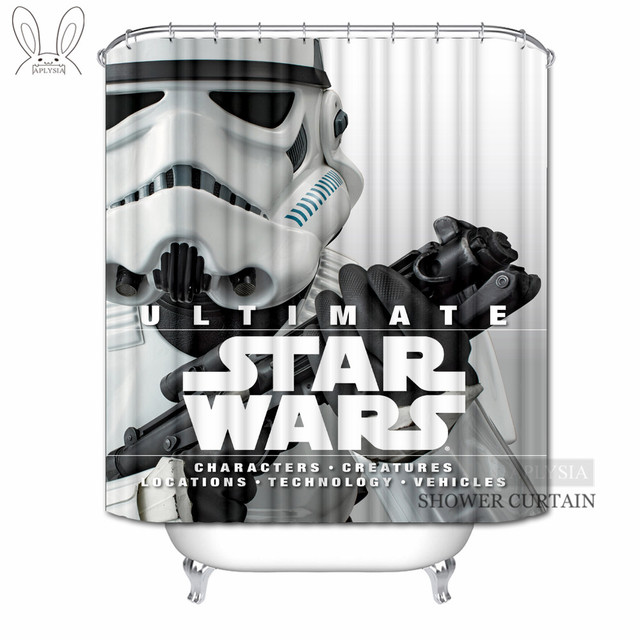 Aplysia Star Wars Shower Curtains Alien Robot Movies Custom Waterproof Fabric Bathroom For Home Decors