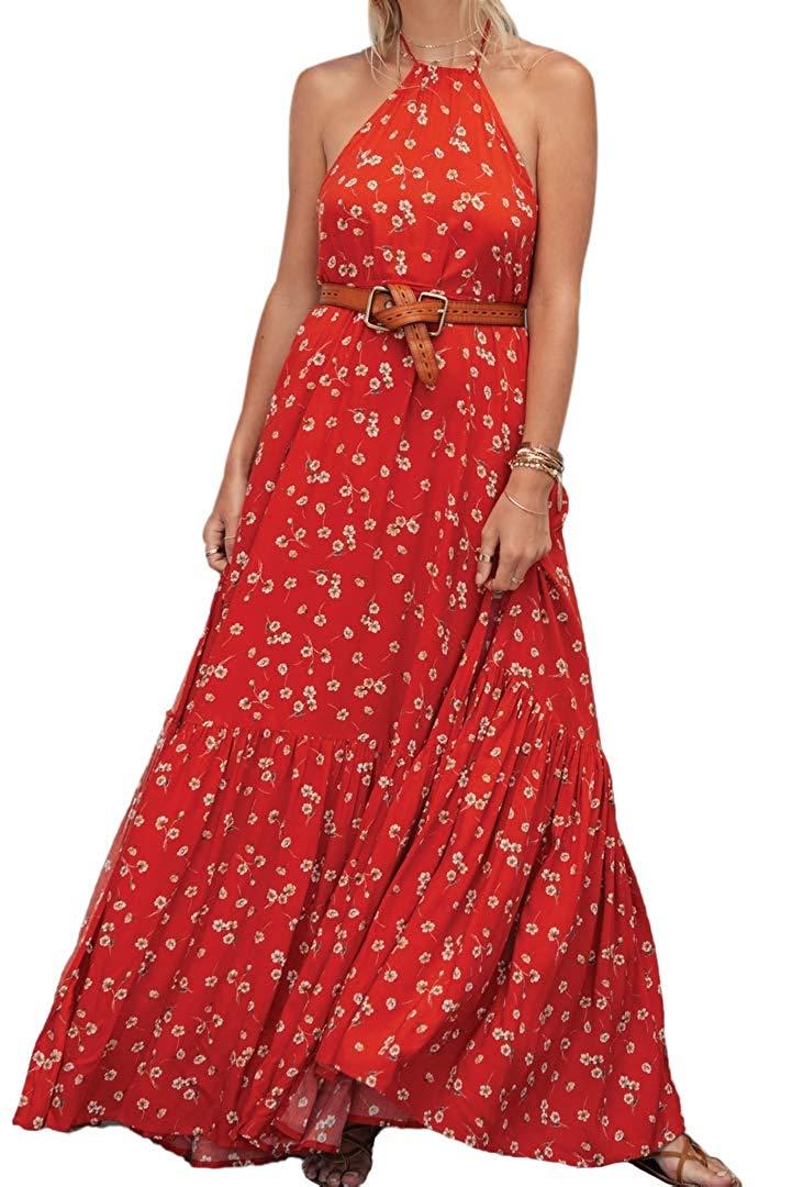 Femmes robe d'été licou cou dos nu imprimé Floral haute Bifurcation plissée lâche balançoire longue robe avec bande de taille