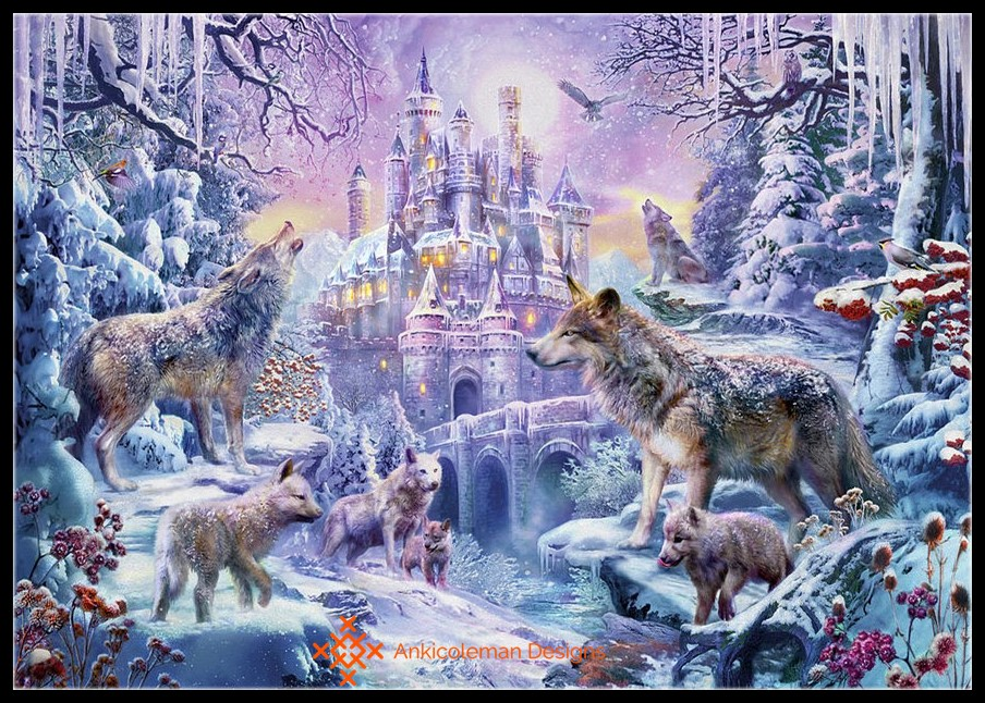 Embroidery Counted Cross Stitch Kits Needlework - Crafts 14 Ct DMC Color DIY Arts Handmade Decor - Wolves Under The Castle