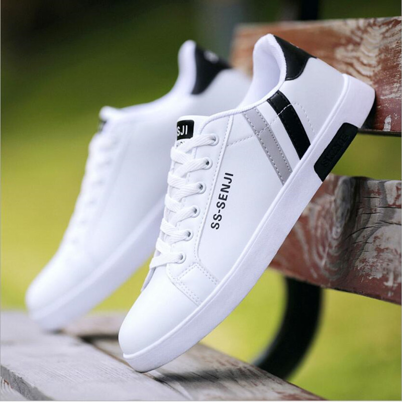 2019 Hot Men's Shoes Sneaker New Small White Shoes Men's Black And White PU Casual Shoes Wild Fashion Classic Flat Men's Shoes(China)