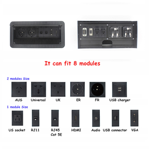 Image 4 - JOHO מברשת פתוח סוג שולחן שקע אלומיניום סגסוגת האיחוד האירופי תקע רב פונקצית USB HDMI VGA ממשק BS 102