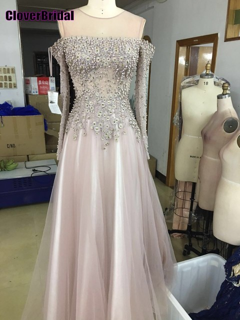 23d8faedbe9 Off-the-shoulder long sleeves illusion net tulle nude special occasion  dresses 2017 pearls