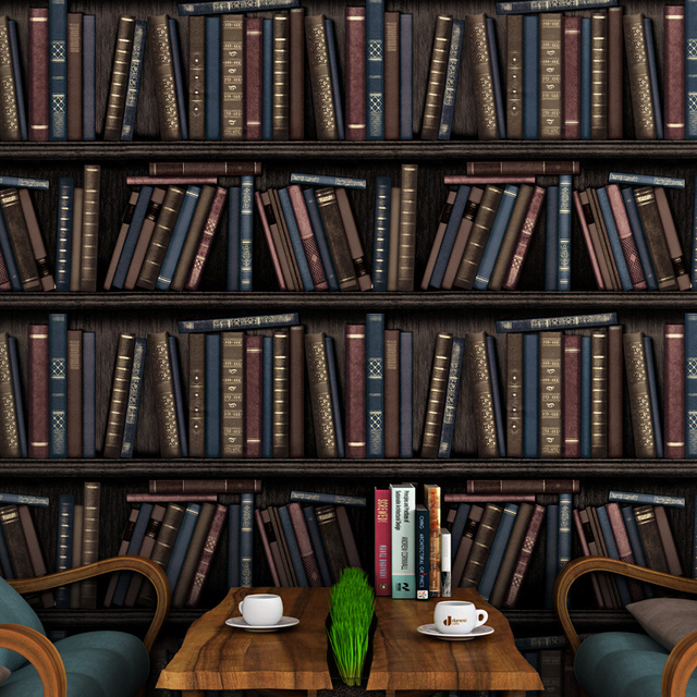 Bookcase Cafe Wall Wallpaper American Village Retro Nostalgic Background Living Room For Walls 3