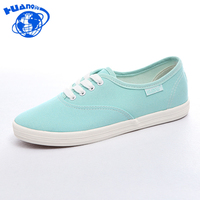 HuanQiu Women Canvas Shoes Casual Lace Up Candy Colors Summer Ladies Flats White Shoes Woman 6e16
