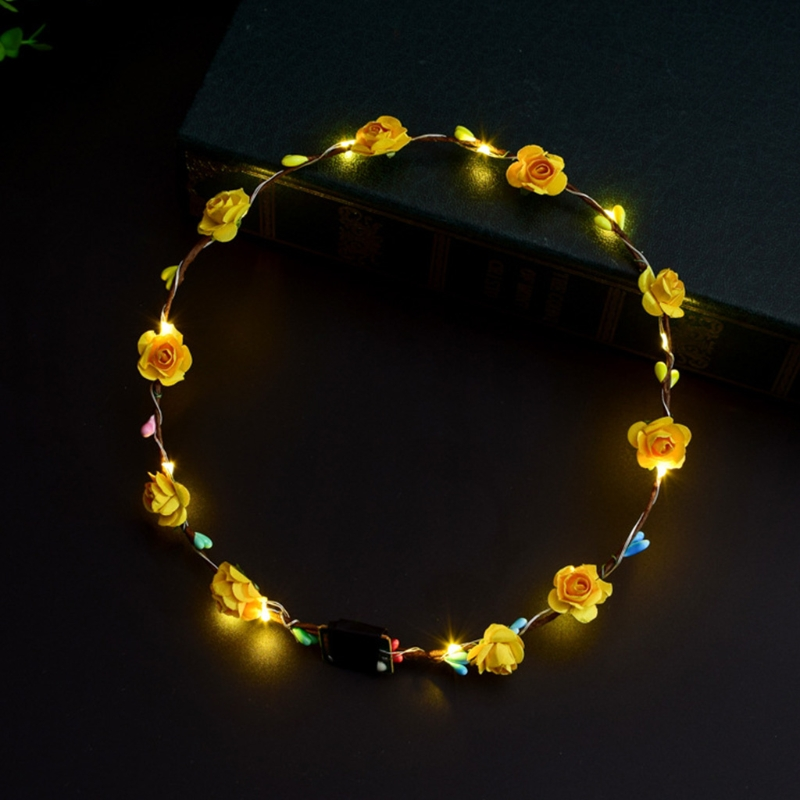 Women Girls LED Light Up Flower Headband Flashing Glow Crown Party Hair Wreath 5