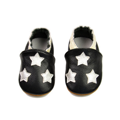 2016 New Spring Black Genuine Leather Baby Moccasins Shoes White 5 Stars Baby Shoes Bow Boys shoes infant  First walker shoes