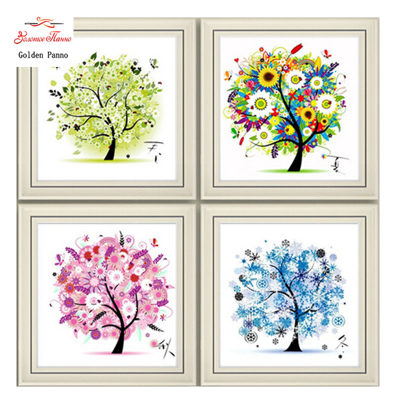 Needlework, DIY DMC Cross stitch, Sets For Embroidery kit four seasons tree cotton thread home decor Counted Cross-Stitching