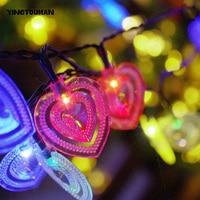YINGTOUMAN 20Led Heart Solar Powered Fiber Optic Fairy String Lamp Outdoor Christmas Day Garden Party Decoration