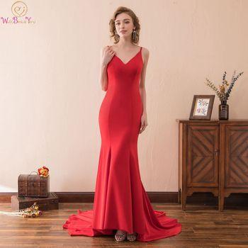 b4bdcf0b3fe Фантастический Красный Русалка вечернее платье V шеи складки на шнуровке официальная  Вечеринка длинное платье без рукавов Атлас abiti да .