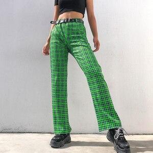 Image 4 - Darlingaga Fashion Green Checkered Harajuku Pants Women Straight Trousers High Waist Plaid Pants Autumn Baggy Pantalones Bottom