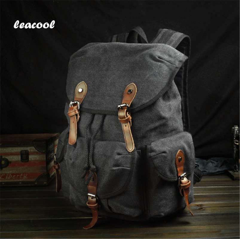 leacool 2018 New vintage rucksack canvas backpack leisure travel schoolbag unisex laptop backpacks men backpack male new vintage backpack canvas men shoulder bags leisure travel school bag unisex laptop backpacks men backpack mochilas armygreen