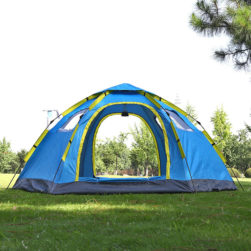 3 4 Person Automatic Travel Tent 2 Door 4 Window Mongolian Shade Awning UV Protection Family