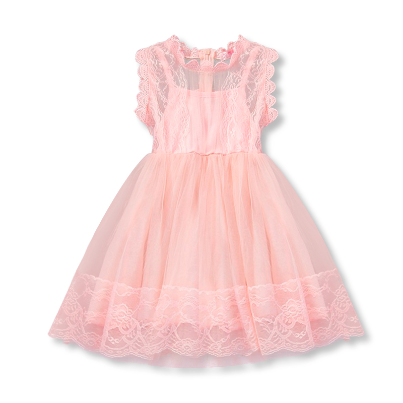 Summer  Sweet Pink Baby Girl Dress Fancy Gown for Girls Holiday Birthday Wedding Causal Formal Tutu Tulle Kids 2-6T Clothes Wear high quality handmade diy baby girls tutu dress gift summer flower girls party dress pink plum tulle dress free shipping