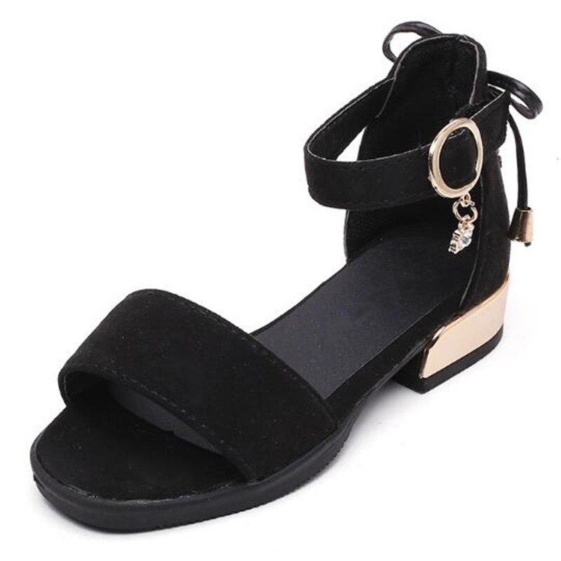 Summer Children's Flock High Heel Sandal Sweet Performance Tie Black Gown Shoes Open Toe Solid Color Slipper