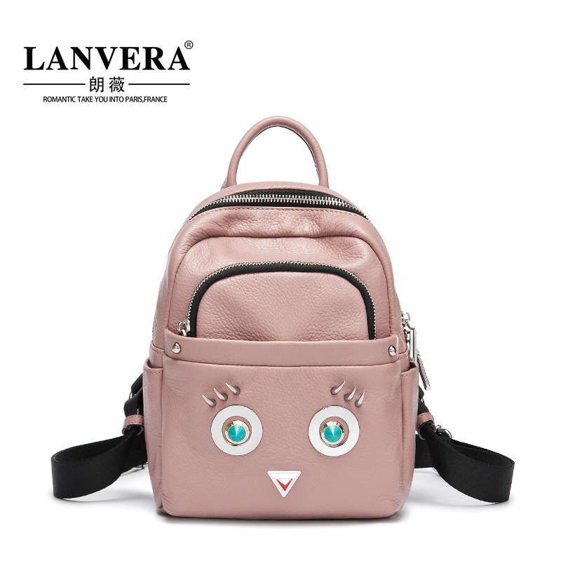 Women Backpack Genuine Leather Small Size Women's Backpacks Fashion Cute Cartoon Girls School Bags Female Back Pack Travel Bags evispo fashion designer cow genuine leather women backpack drawstring school bags for teenagers girls female travel back pack