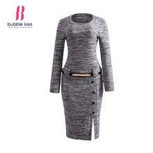 Пуловер платье женщина трикотаж зима с длинным рукавом О Средства ухода за кожей Шеи разрез пояса Кнопка Повседневное облегающее платье элегантные вечерние офис-миди платья