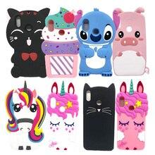 3D Cute Animal Patterned Soft Silicone Case For Huawei Nova 3i Cover Unicorn Cat Stitch Phone Capa P Smart Plus