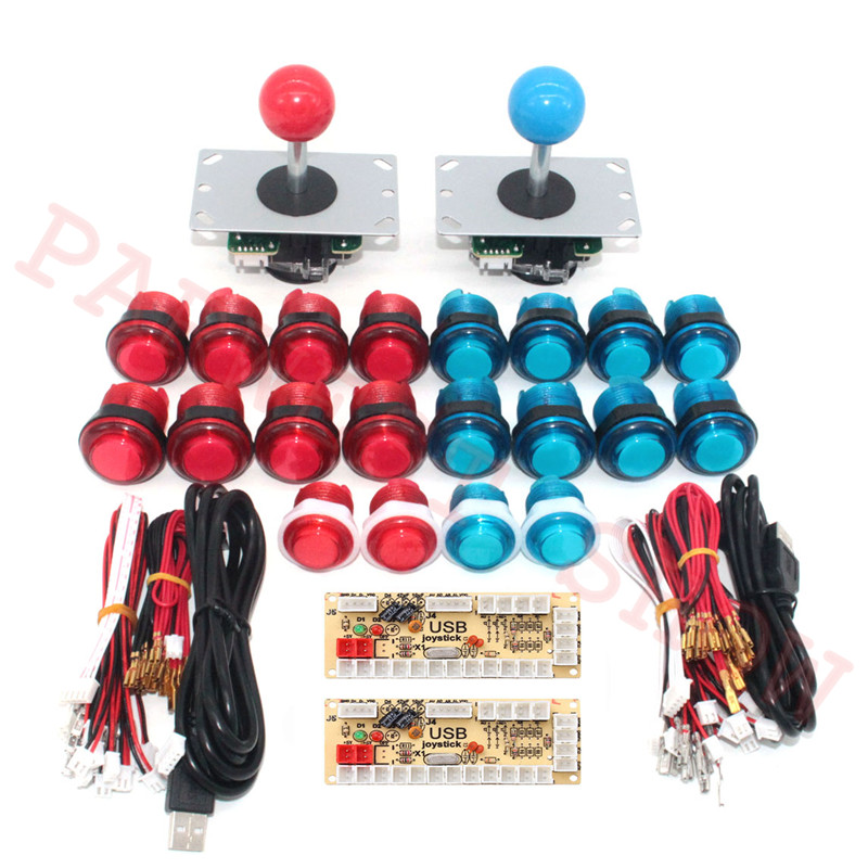 2Players Arcade LED Kit with Zero Delay USB Encoder To PC Arcade Games 4/8 Way 5Pin Joystick + LED Illuminated Push Buttons-in Coin Operated Games from Sports & Entertainment    1