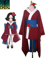 Free Shipping Anime Cartoon Jigoku Shoujo Hell Girl Anime Cosplay Kikuri Kimono Cos Woman Man Cosplay Costume Kimono