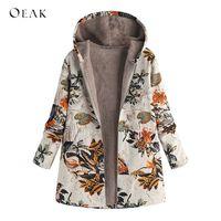 OEAK 5XL Большие размеры женские длинные парки Пальто Винтаж Цветочный Принт Толстая флисовая куртка зимняя женская с капюшоном теплая верхня...