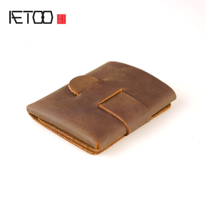 AETOO A leather wallet features an alternative original minimalist original design crazy horse wallet
