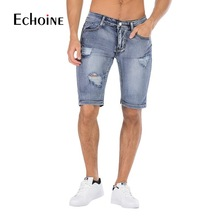 цена Summer Men's Stretch Short Masculino Jeans 2019 New Fashion Casual Slim Fit Bermuda Homme Cotton Denim Shorts Male Brand Clothes