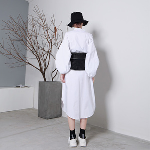 Image 2 - [EAM] 2020 New Spring Black White Hit Color Long Bow Bandage Exceed Width Belt Women Fashion Tide All match JA49101