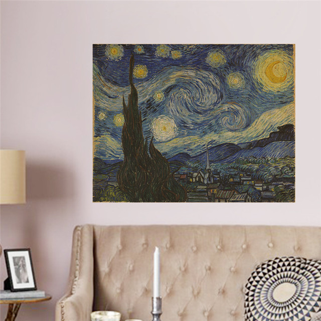 Metaphor famous painting Star Sky vintage retro posters hanging ...