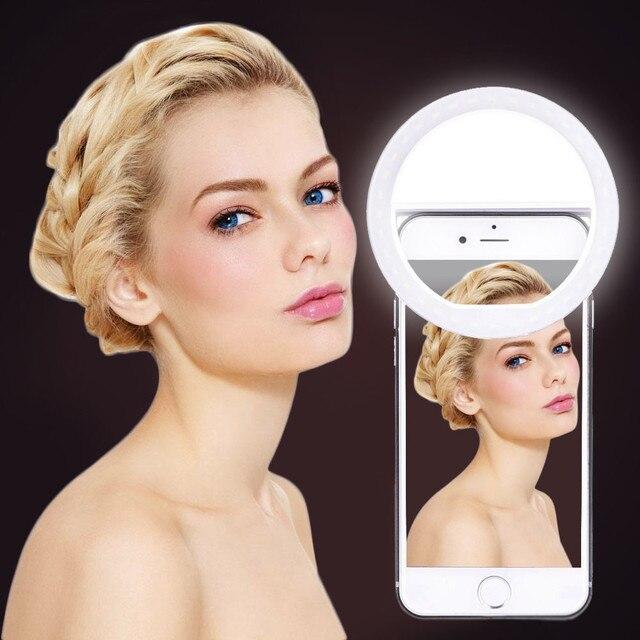 Chegam novas Anel de Carga USB Flash Led Câmera Do Telefone Selfie Portátil Fotografia Luz Melhorar a Fotografia para iPhone Smartphone