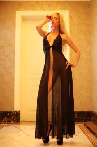 Plus Size Black Evening Dress Lingerie Gown Sleepwear s xl-in ...