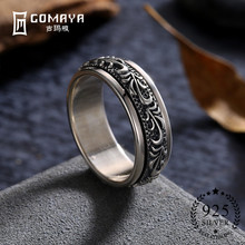 GOMAYA 925 Sterling Silver Rings Carving Flower Gothic Vintage Rock Punk Cocktail Fine Jewelry for Men and Women Anillos vnox rock punk men s cocktail ring vintage silver tone rings for men anel masculino turkish male jewelry