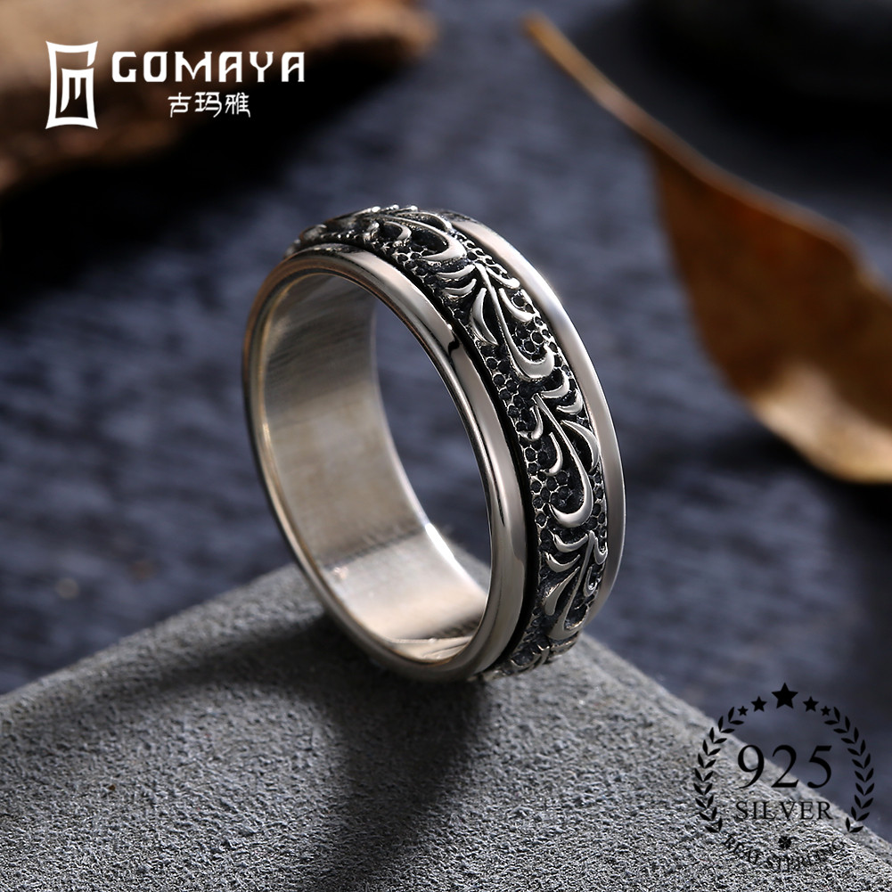 men silver cocktail for fine carving jewelry punk rings rock flower sterling gothic vintage gomaya item