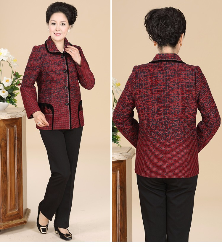 Chinese Autumn Jacket Women\'s 2016 Elegance Red Purple Coat For Middle Aged Woman Button Front Turn Down Collar Casaco Feminino 40s 50s 60s (4)