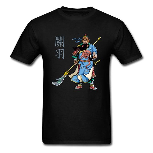 8034d12a Chinese Hero Warrior Guan Yu Print Men T-shirt Mans Short Sleeve Black Tee  Shirt Tops Unique Design Beijing Opera Character