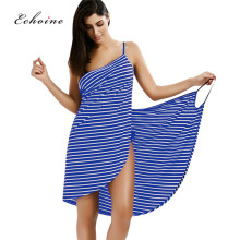 Echoine Casual Stripe Smock Summer Dress Women Spaghetti Strap Lace Up Hot Sexy Open Cover Overlap Asymmetrical Beach Dresses