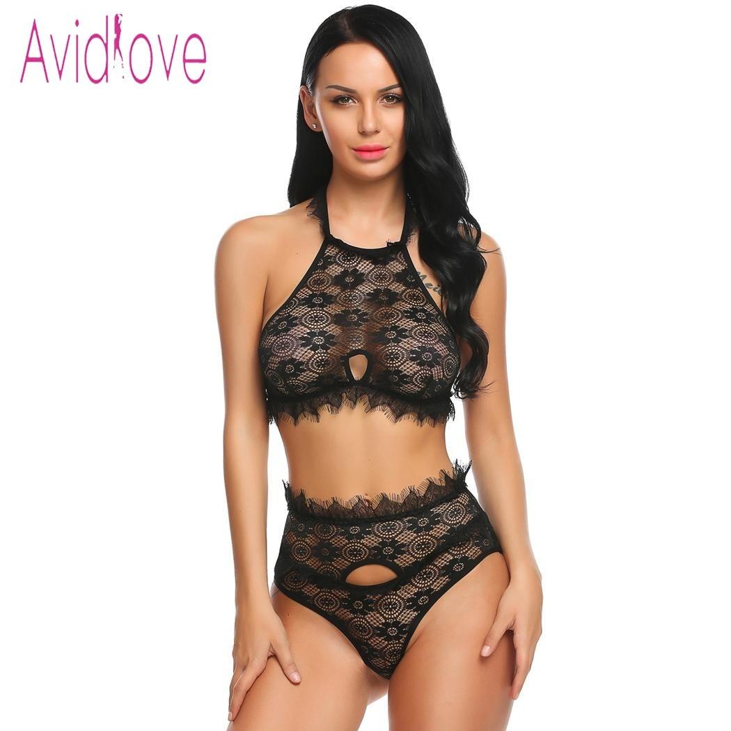 Avidlove Sexy Unterwäsche Dessous Set Frauen Under Spitzen-bh Und Höschen Thong Erotischen Hot Sex Kostüm Porno Exotischen Kleid Schwarz