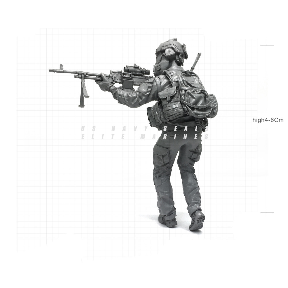1/35 Modern U.S Navy Seals Elite Marines Biochemical Machine Gunmen Military Soldier Resin Model Figure NAI-22