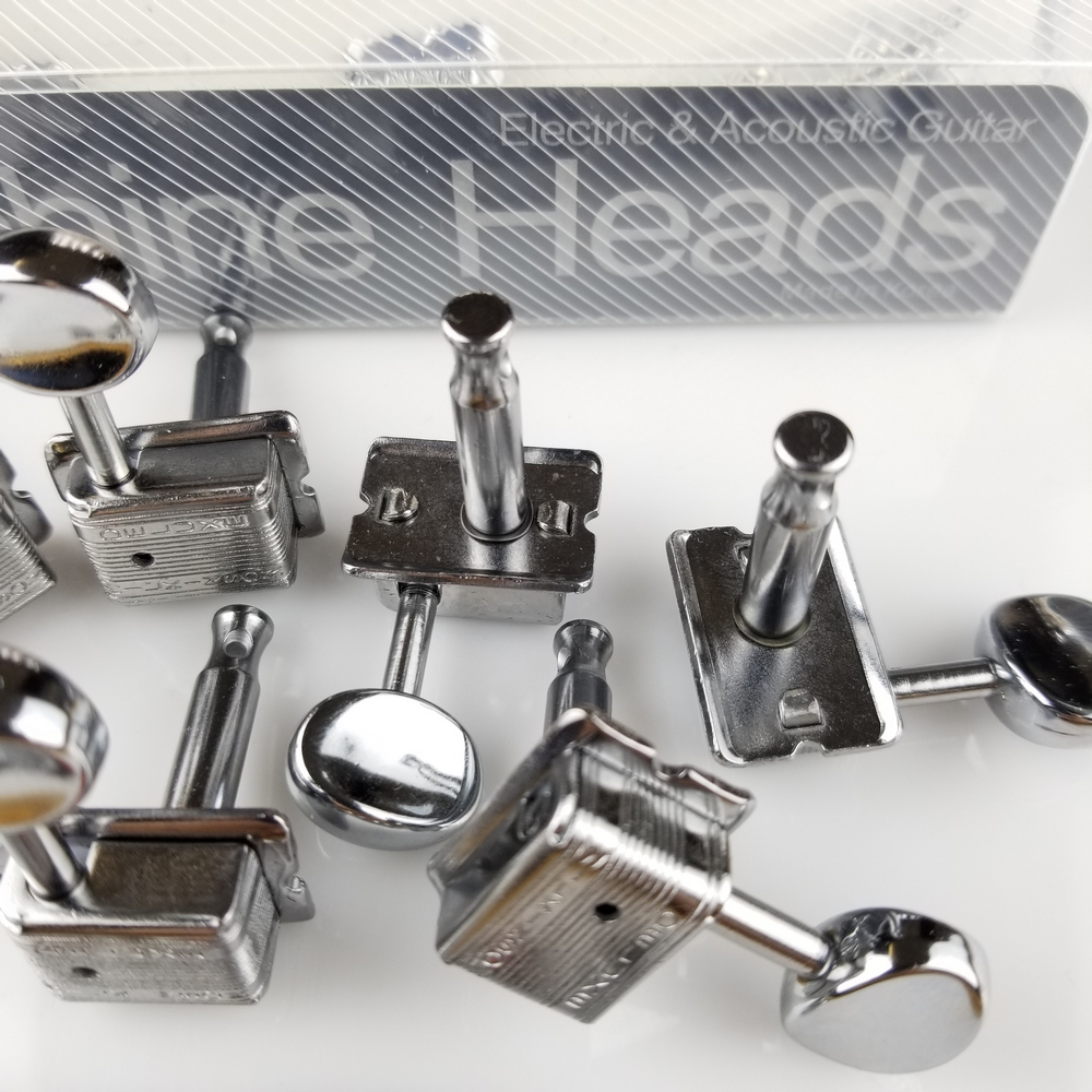 Купить с кэшбэком Wilkinson VINTAGE CHROME TUNERS Electric Guitar Machine Heads Tuners For ST & TL Guitar OR Similar WJ-55 Silver Tuning Pegs