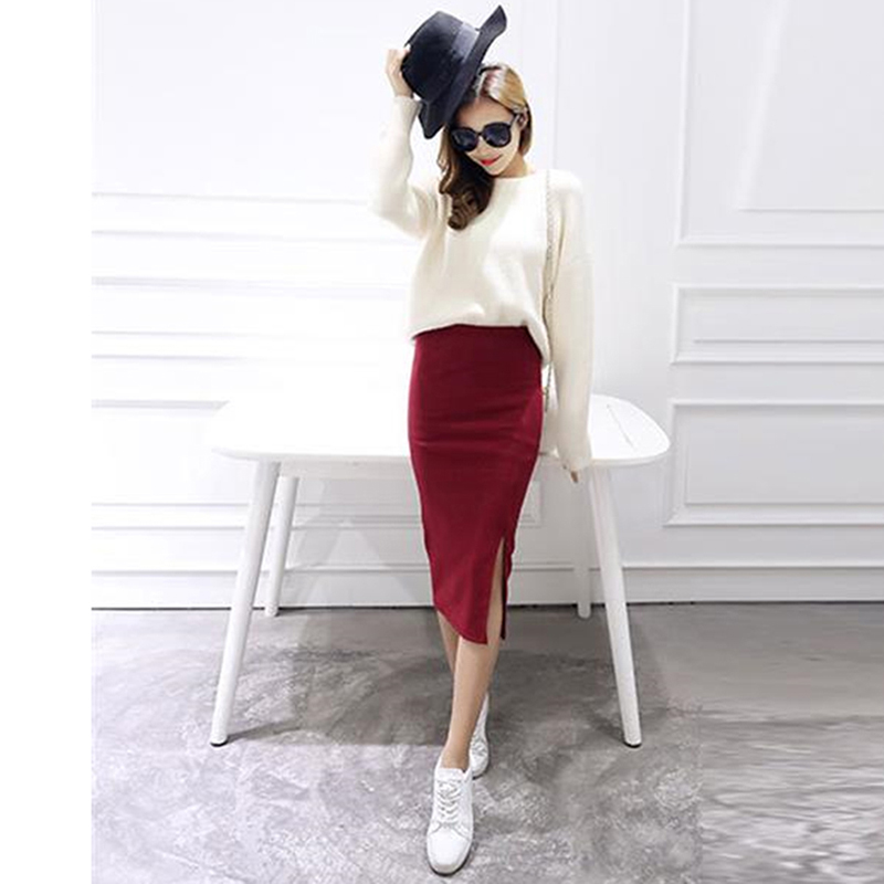 New Spring Summer Women Bodycon Skirts Both Sides Split Sexy Ladies Skirts Female Casual Pencil Skirts 6 Colors