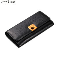 2017 European And American Style Genuine Leather Womens Purse Long Bifold Cowhide Women Wallets Luxury Brand