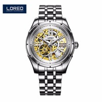 LOREO Watch Men Fashion Relogio Masculino Automatic Mechanical Gold Skeleton Vintage Watch Waterproof Luminous Watch AB2107