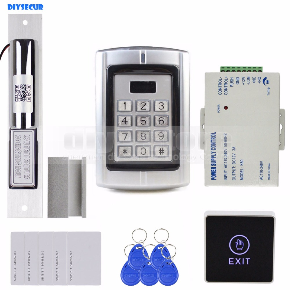 DIYSECUR Touch Button RFID 125KHz Metal Keypad Door Access Control Security System Kit + Electric Bolt Lock with Door Clamp diysecur 125khz rfid metal case keypad door access control security system kit electric strike lock power supply 7612